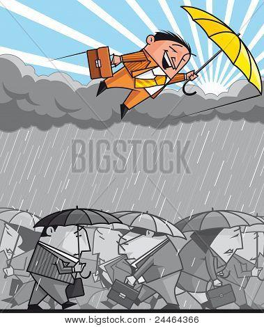 Opportunist Businessman Flying Over The Economic Depression