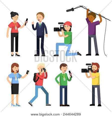 Set Characters Of Broadcasting, Reportage And Interview. Operator, Photographer And Interviewer. Rep
