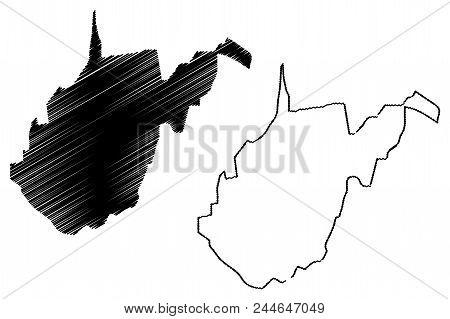West Virginia Map Vector Illustration, Scribble Sketch West Virginia Map