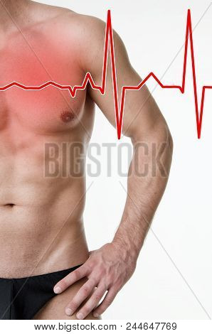 Heart Attack And Muscled Guy. Heartache. White Background.