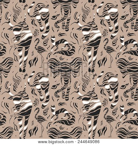Wild Animals. Stylized Wild Animals. Tiger, Bison, Bull, Flamingo Hand Drawn Seamless Pattern