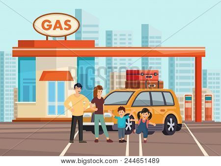 Cartoon Flat Happy Family Of Fours With Own Car On Gas Station. Clipart. Vector Illustration.