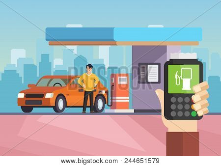 Cartoon Flat Gas Station. Purchase Of Gasoline. Vector Illustration Man Is Refilling Car With Gasoli