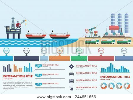 Infographics Stages Of Oil Production In Ocean And Further Processing Vector Illustration. Oil Indus