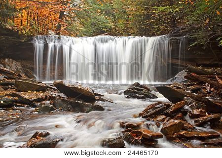Waterfall with Autumn Color