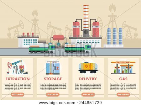 Vector Illustration Infographic Of Stages Of Oil Production Of Oil And Gasoline With Image Of Oil Ri
