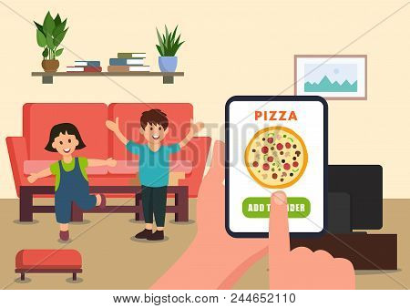 Parent Orders Pizza For Children Online. Online Pizza Order. Vector Illustration. Clipart. Flat Styl