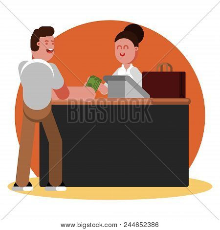 Man Buys Clothing. Vector Color Illustration, Eps 10