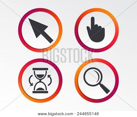 Mouse Cursor And Hand Pointer Icons. Hourglass And Magnifier Glass Navigation Sign Symbols. Infograp