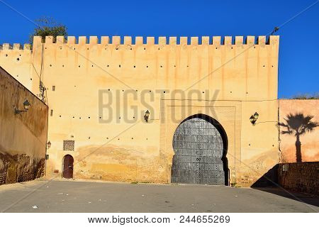 Medina wall with the main entrance door, Meknes Morocco poster