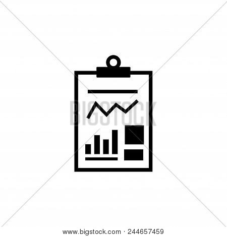 Business Report Financial Document. Flat Vector Icon. Simple Black Symbol On White Background