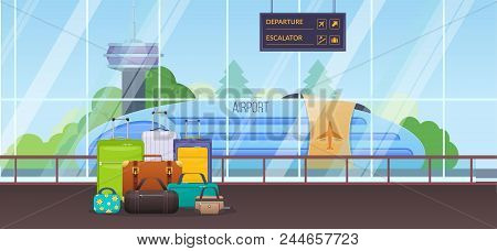 Modern Building Of Waiting Room At Airport. Interior Of Room, Against Background Of City Landscape A