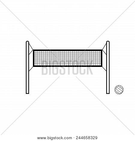 Volleyball Net And Ball Vector Composition. Hand Drawn Sport Outline Illustration. Isolated Net And