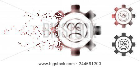 Vector Service Gear Shout Smiley Icon In Dissolved, Pixelated Halftone With Red To Black Horizontal