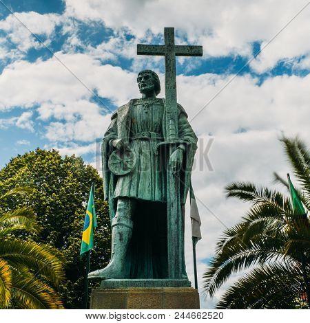 Belmonte, Portugal - June 11th, 2018: Statue Of Pedro Alvares Cabral, Navigator Who Discovered The L