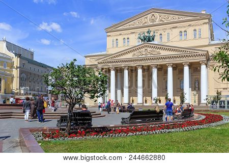 Moscow, Russia - June 03, 2018: Theatre Square And Bolshoi Theatre On A Sunny Summer Morning