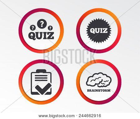 Quiz Icons. Brainstorm Or Human Think. Checklist Symbol. Survey Poll Or Questionnaire Feedback Form.