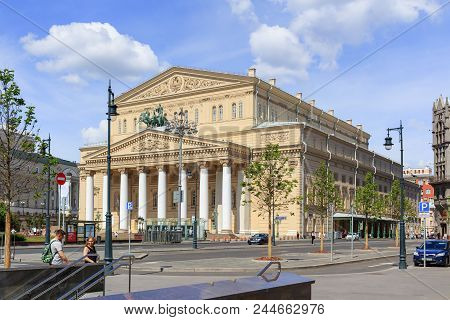 Moscow, Russia - June 03, 2018: Building Of Bolshoi Theatre And Theatre Square. View From Petrovka S