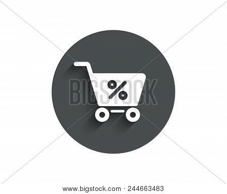 Shopping Cart With Percentage Simple Icon. Online Buying Sign. Supermarket Basket Symbol. Circle Fla