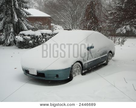 Snow Covered Car Stuck