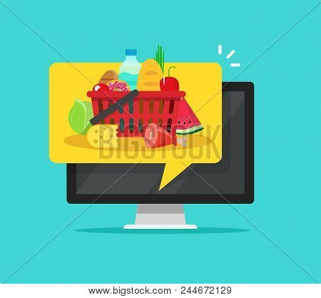 Food On Computer Screen Vector Illustration, Flat Cartoon Grocery Food Inside Notification Of Pc, Co