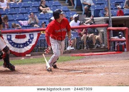 Portland Sea Dogs batter Will Middlebrooks watches his hit