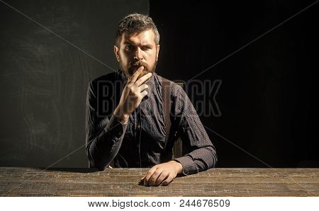 Man In Thought. Man In Formal Outfit Isolated On Black Background. Businessman Or Ceo At Table. Mana
