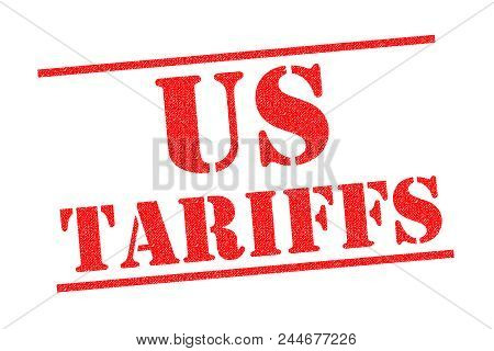Us Tariffs Red Rubber Stamp Over A White Background.