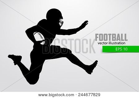 Silhouette Of A Football Player. Set. Background And Text On A Separate Layer, Color Can Be Changed