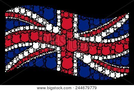 Waving English Flag On A Black Background. Vector Police Shield Icons Are Grouped Into Mosaic Englis
