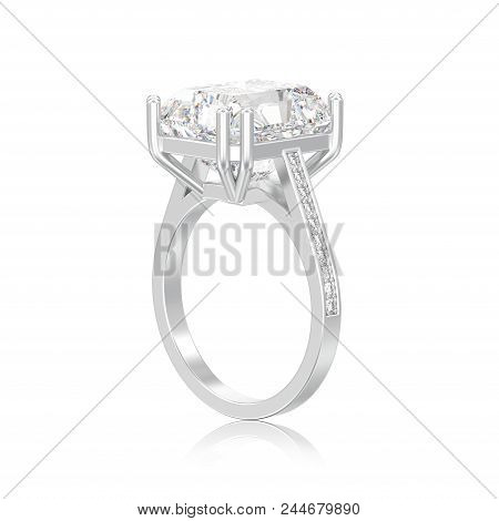 3d Illustration Isolated Silver Traditional Solitaire Engagement Diamond Ring With Radiant Diamond O