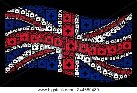 Waving Uk Flag On A Black Background. Vector First Aid Kit Items Are Organized Into Mosaic Uk Flag I