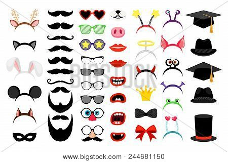 Photobooth Party Elements. Vector Funny Face Masks And Clown Nose And Glasses, Vintage Party Hats An