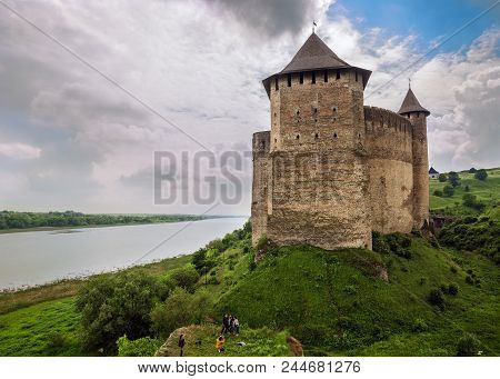 Khotyn, Ukraine - May 19, 2018: Khotyn Fortress On The Dnister River On A Cloudy Day, Western Ukrain