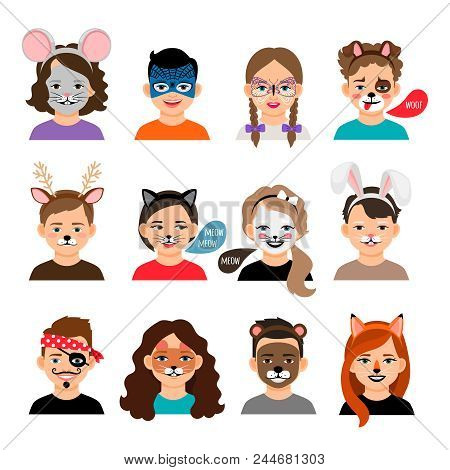 Face Painting Kids. Children With Painting Faces Vector Illustration, Facing Paintings Like Fox, Tig