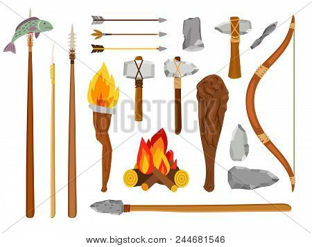 Cartoon stone age tools. Primitive caveman elements isolated on white background, prehistoric savage tools stone ax, fire and mace vector illustration poster