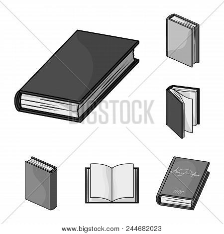 Book Bound Monochrome Icons In Set Collection For Design. Printed Products Vector Symbol Stock  Illu