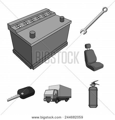 Car, Vehicle Monochrome Icons In Set Collection For Design. Car And Equipment Vector Symbol Stock  I