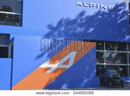 Le Mans, France - June 18, 2017: Pavilion Of The Alpine With Exposition Of New Model Sports Car Alpi