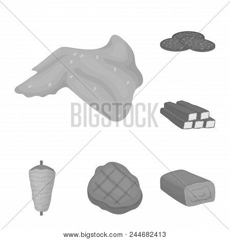 Different Meat Monochrome Icons In Set Collection For Design. Meat Product Vector Symbol Stock  Illu