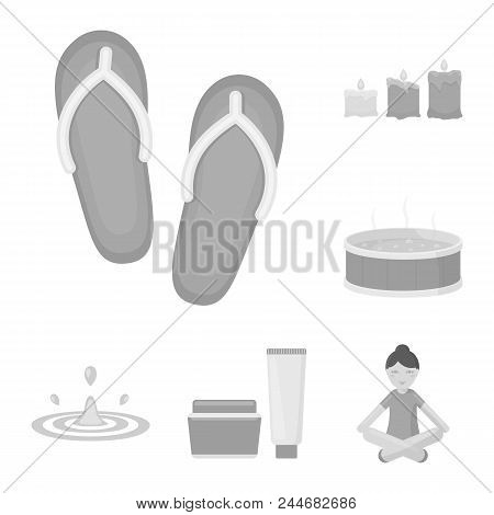 Spa Salon And Equipment Monochrome Icons In Set Collection For Design. Relaxation And Rest Vector Sy