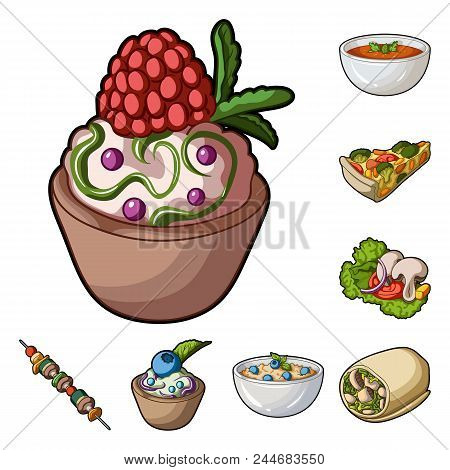 Vegetarian Dish Cartoon Icons In Set Collection For Design.vegetable And Milk Food Vector Symbol Sto