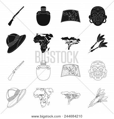 Cork Hat, Darts, Savannah Tree, Territory Map. African Safari Set Collection Icons In Black, Outline