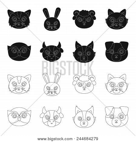 Owl, Cow, Wolf, Dog. Animal's Muzzle Set Collection Icons In Black,outline Style Vector Symbol Stock