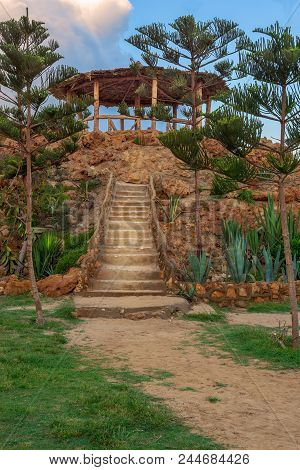 Natural Stone Stairway With Green Bushes On Both Sides Leading To Wooden Pergola With Partly Cloudy