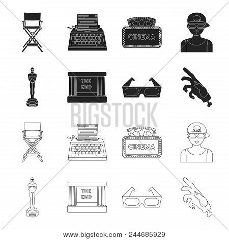 Award Oscar, Movie Screen, 3d Glasses. Films And Film Set Collection Icons In Black, Outline Style V