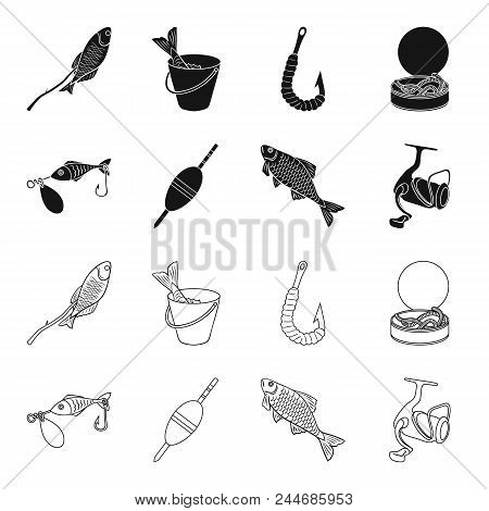 Fishing, Fish, Catch, Hook .fishing Set Collection Icons In Black, Outline Style Vector Symbol Stock