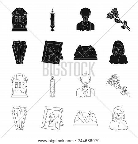 Coffin With A Lid And A Cross, A Photograph Of The Deceased With A Mourning Ribbon, A Corpse On The