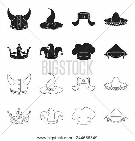 Crown, Jester's Cap, Cook, Cone. Hats Set Collection Icons In Black,outline Style Vector Symbol Stoc