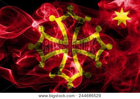Occitania Smoke Flag, Dependent Territory Flag, On A Black Background